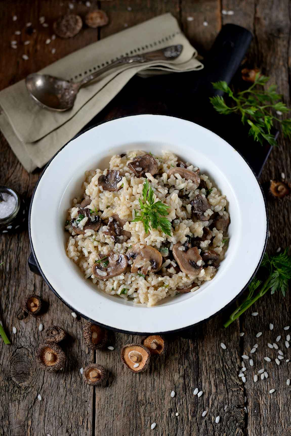 An overhead photo of mushroom risotto