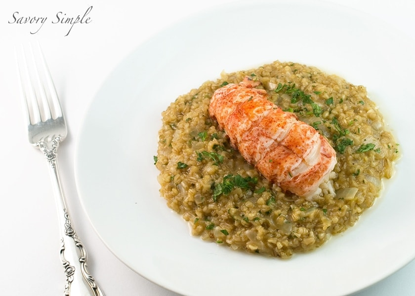 Butter-Poached Lobster with Steel-Cut Oat Risotto ~ Savory Simple