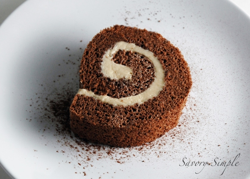 Chocolate roulade slice on a plate