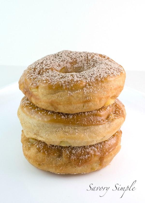 Apple Doughnuts with Caramel Glaze ~ Savory Simple