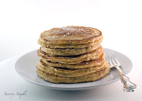Delicious, homemade eggnog pancakes are the perfect fall/winter breakfast treat! Use quality eggnog for best results.