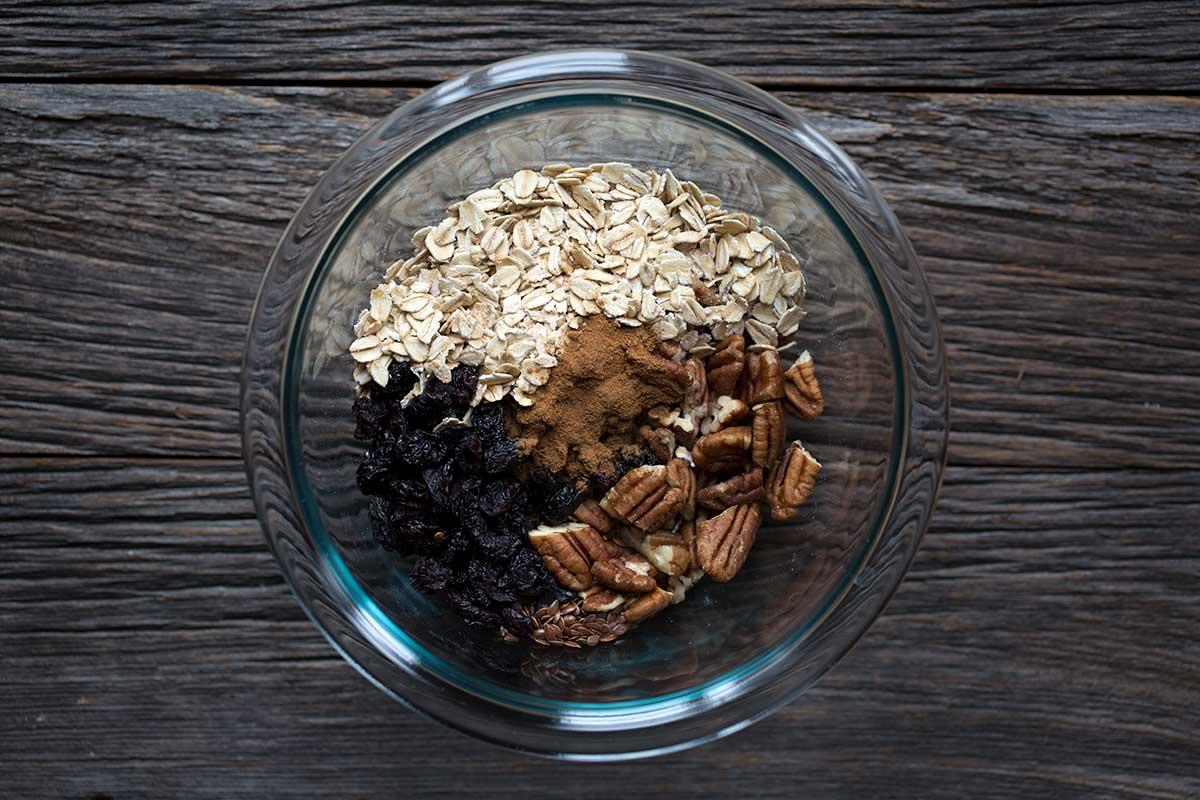 muesli ingredients in a glass bowl
