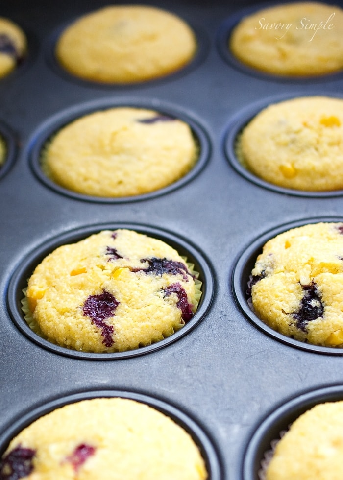 Blueberry Corn Muffins ~ Savory Simple
