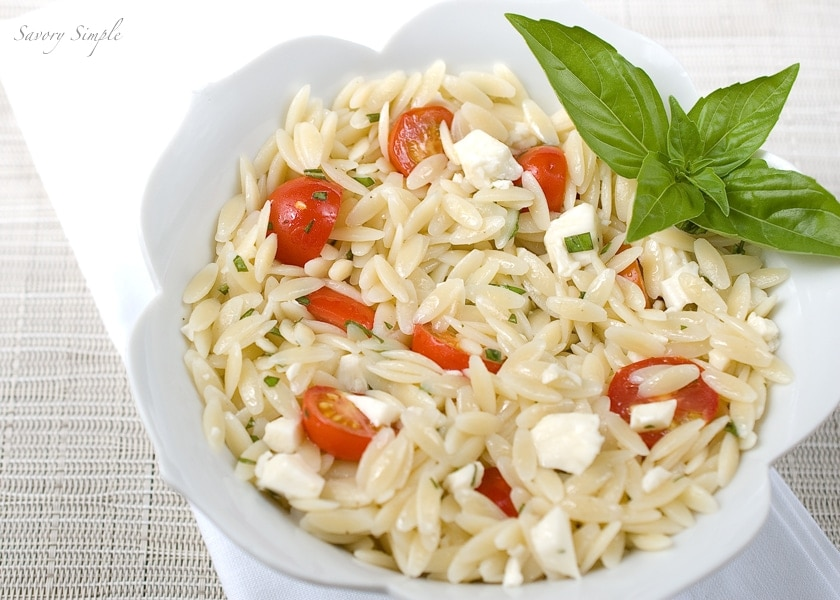 orzo caprese salad ~ Savory Simple
