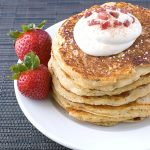 Bacon Polenta Pancakes with Maple Whipped Cream ~ Savory Simple