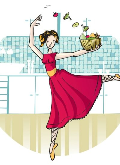 Cartoon of girl dancing