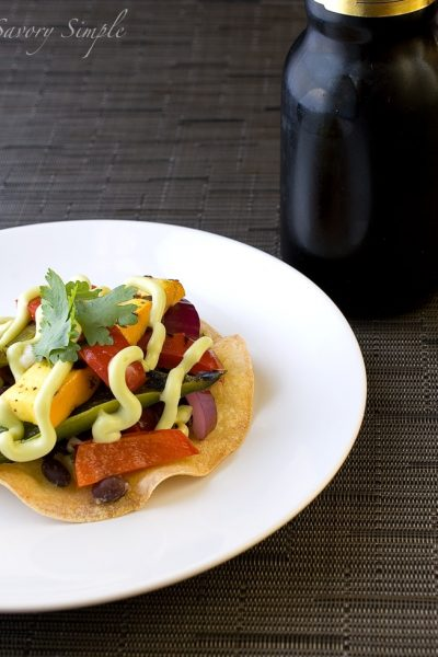 Grilled Vegetable and Black Bean Tostada with Avocado Cream ~ Savory Simple