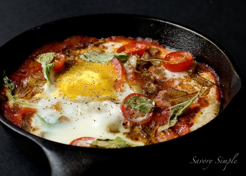 This baked eggs and chorizo dish is perfect for breakfast, brunch or even dinner!