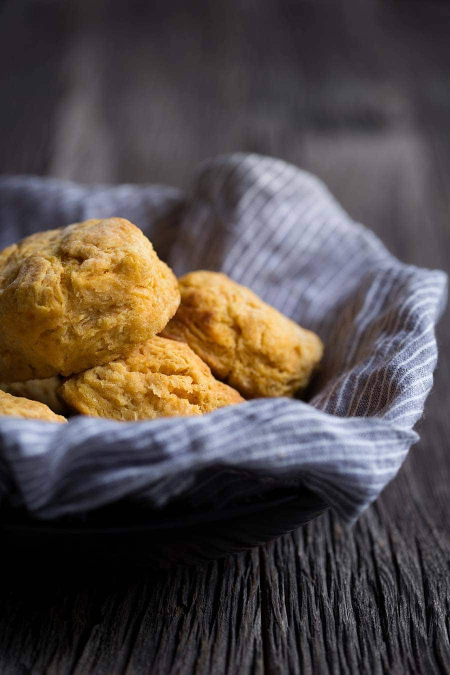 A photo of sweet potato buttermilk biscuits in a basket.