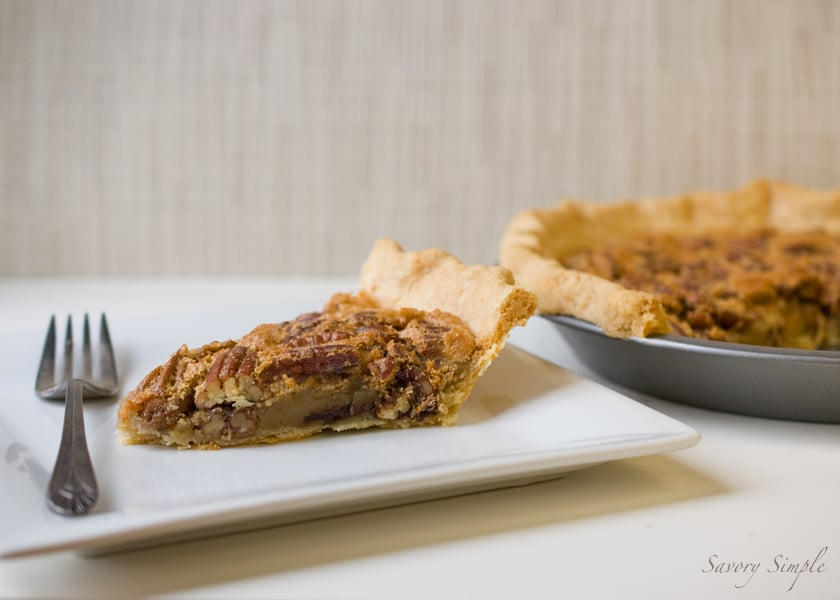 Chocolate chip bourbon pecan pie ~ savory simple