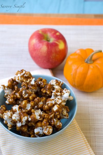 Try this easy, flavorful Pumpkin Caramel Popcorn to celebrate the season! Head over to Savory Simple for the easy-to-follow recipe.