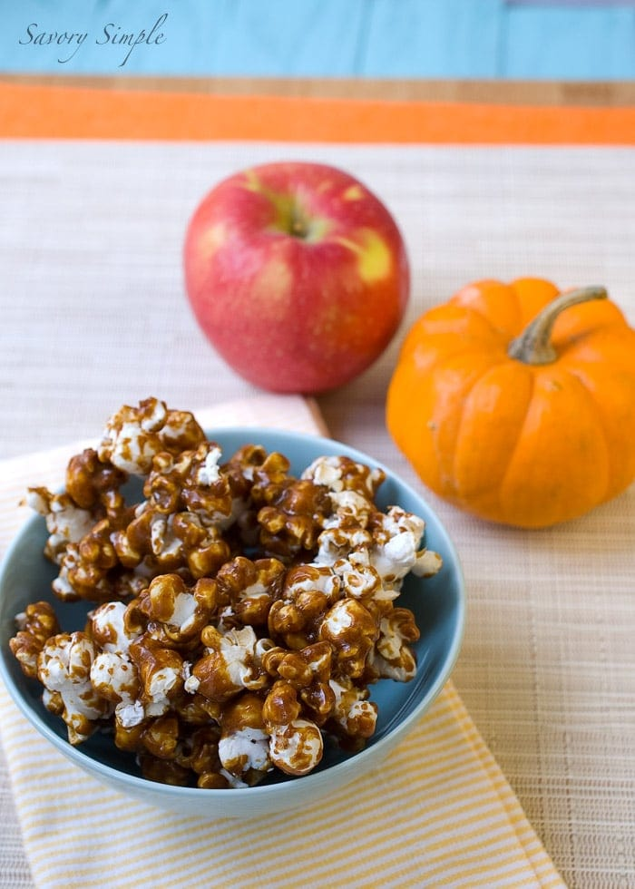 Try this Pumpkin Caramel Popcorn to celebrate the flavors of Thanksgiving and fall! It makes a great snack.
