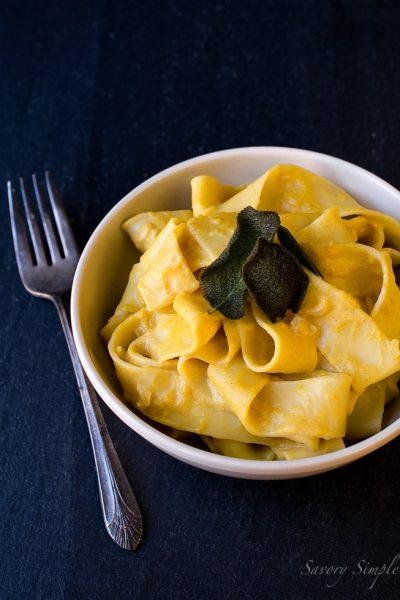 Pumpkin Pecorino Pasta with Fried Sage ~ Savory Simple