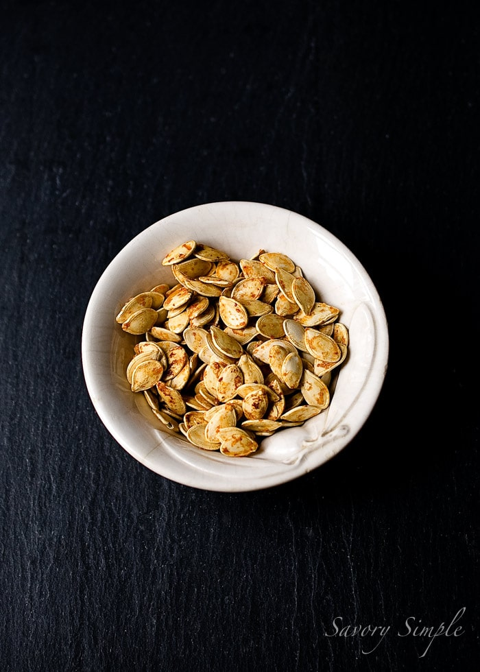 Sriracha Maple Pumpkin Seeds ~ Savory Simple