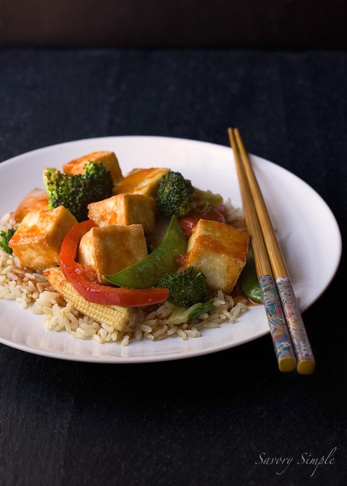 Sweet and Spicy Asian Tofu (Weight Watchers) ~ Savory Simple