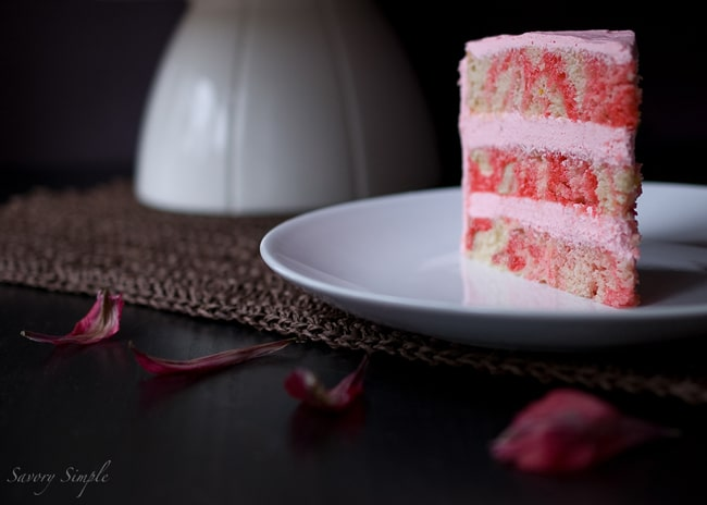 Strawberry Swirl Dream Cake ~ @SavorySimple #Recipe