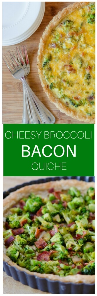 This cheesy broccoli bacon quiche is a perfect way to use up leftover vegetables!