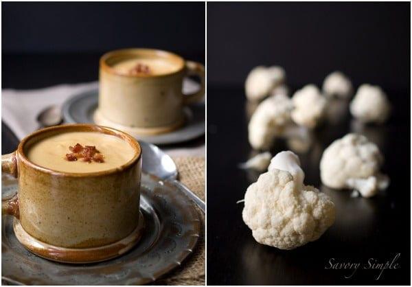 Creamy Cauliflower Bacon Soup ~ Savory Simple #recipe