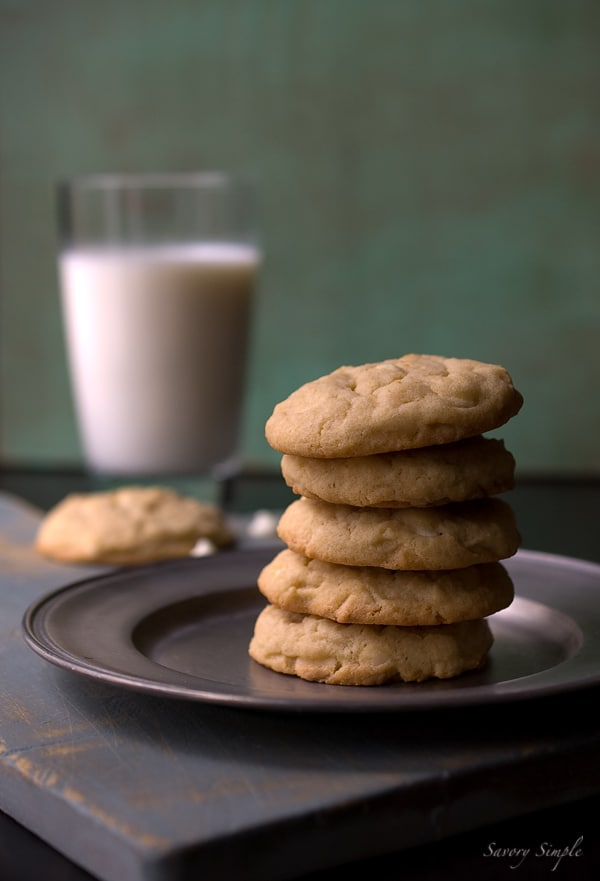 Homemade chocolate chip cookies with white chocolate chips and Baileys Irish Cream Liqueur