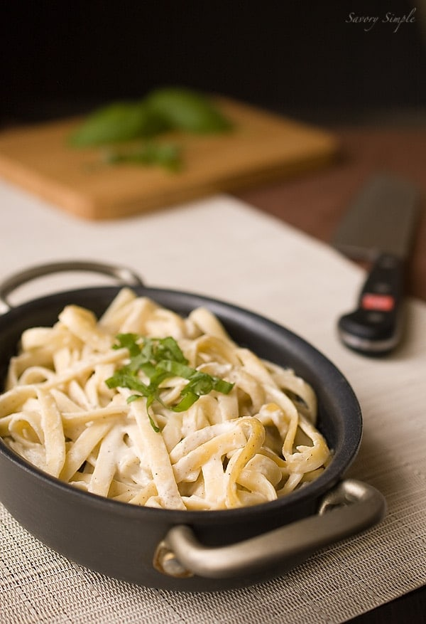 Pasta with Cashew Truffle Cream Sauce ~ Savory Simple ~ www.savorysimple.net