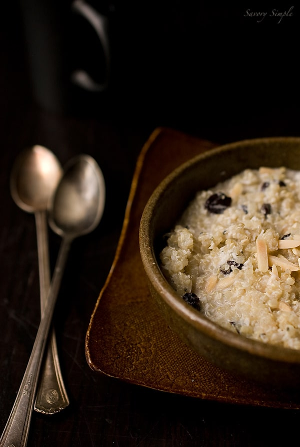 Cherry Almond Coconut Quinoa Porridge ~ Savory Simple ~ www.savorysimple.net