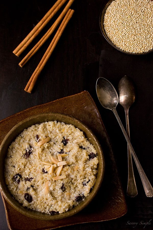 Cherry Almond Coconut Quinoa Porridge - Savory Simple
