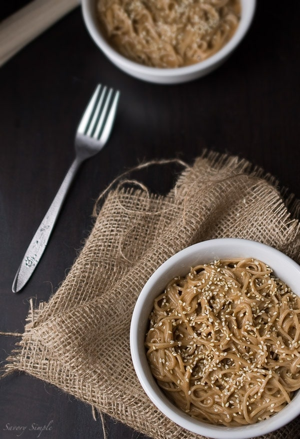 Cold Sesame Soba Noodles ~ Savory Simple ~ www.savorysimple.net