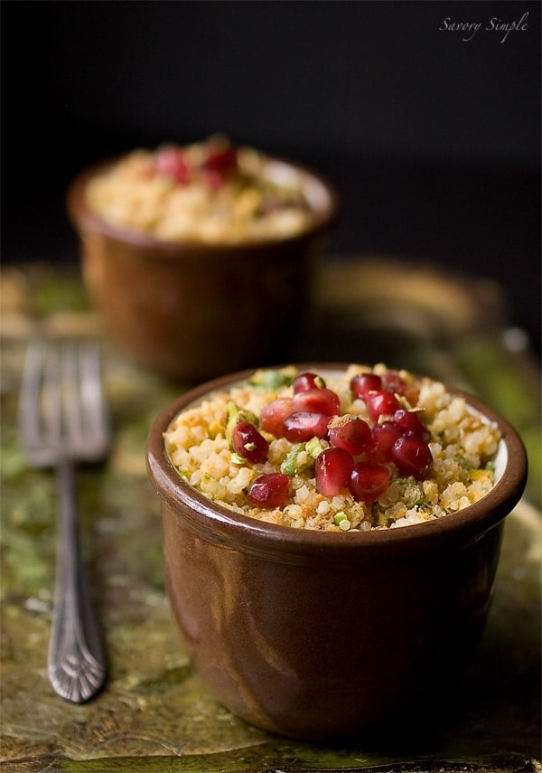 Curried Pomegranate Pistachio Quinoa ~ Savory Simple ~ www.savorysimple.net