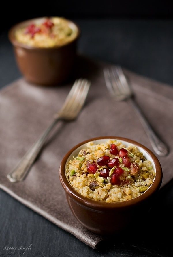 Curried Pomegranate Pistachio Quinoa - Savory Simple