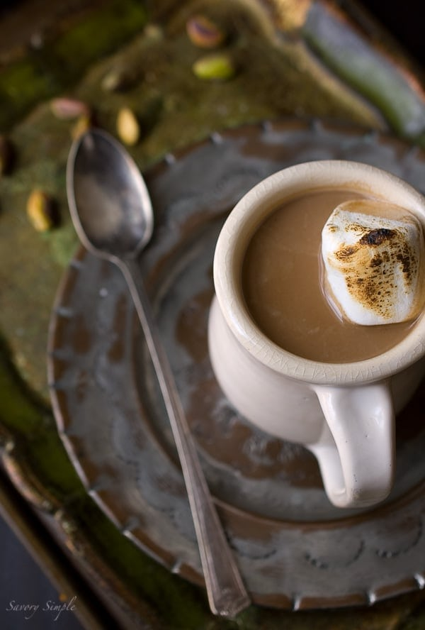 Pistachio Cardamom Hot Chocolate - Savory Simple