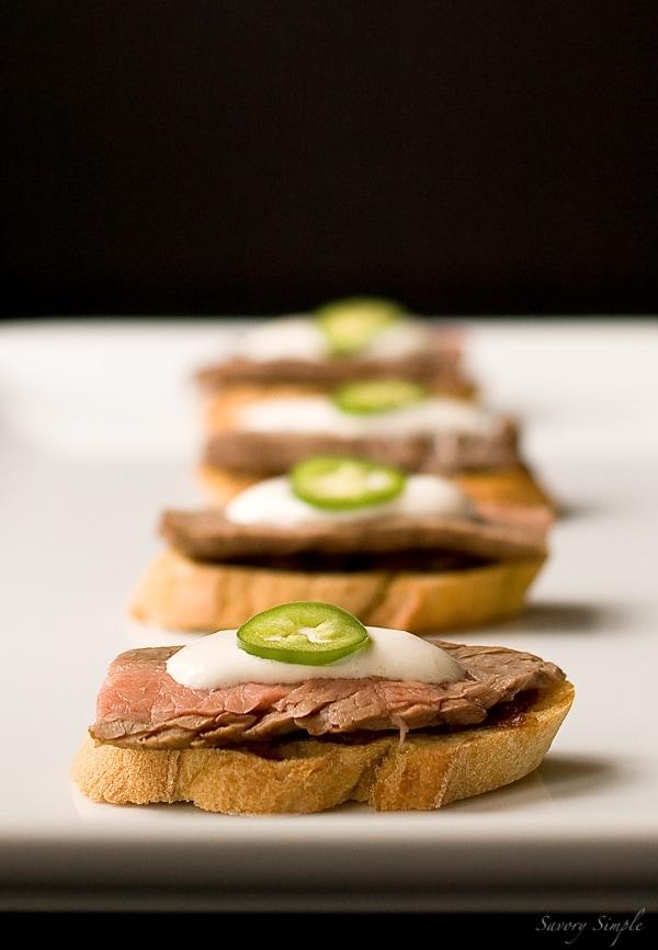 Steak Crostini with Onion Confit and Horseradish Cream ~ Savory Simple ~ www.savorysimple.net
