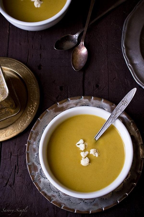 Curry Spiced Cauliflower Parsnip Soup ~ Savory Simple ~ www.savorysimple.net
