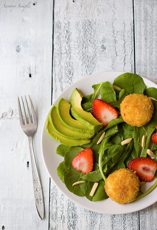 Crispy Goat Cheese Salad with Strawberries and Avocados