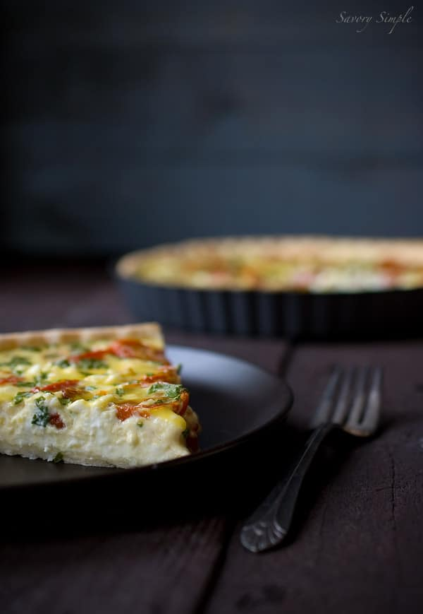 Roasted Tomato and Goat Cheese Quiche ~ Savory Simple ~ www.savorysimple.net