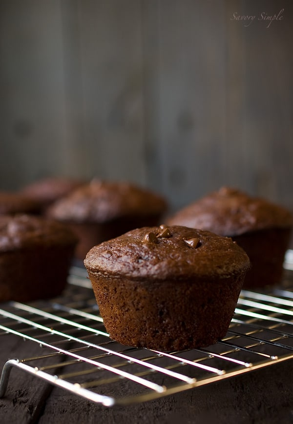 Skinny Double Chocolate Chip Muffins ~ Photo by Savory Simple