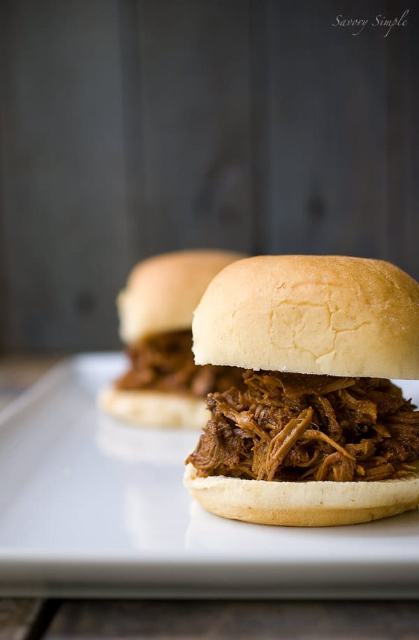 Chipotle Bourbon Barbecue Pulled Pork Sliders ~ Savory Simple