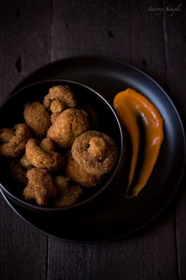 Crispy Old Bay Mushrooms with Sriracha Mayo ~ Savory Simple ~ www.savorysimple.net