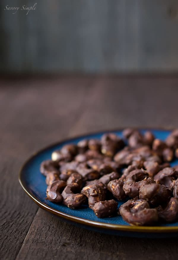 Salted Chocolate-Covered Roasted Cashews Recipe - Dessert - Snack - Savory Simple