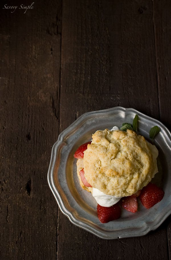 Drunken Strawberry Shortcake with Chocolate Mint Whipped Cream ~ #CAStrawberryShortcake ~ Savory Simple