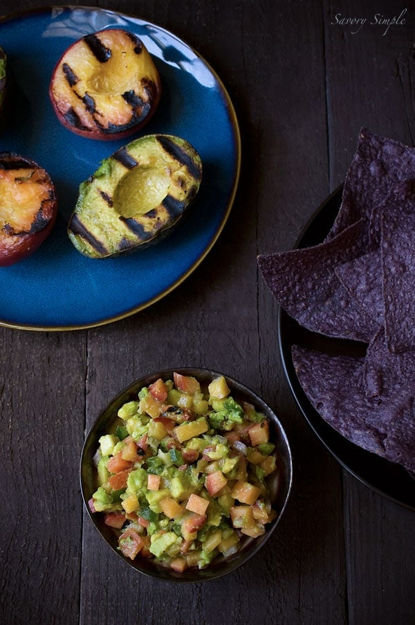 Grilled Avocado and Peach Salsa ~ Healthy Party Appetizer ~ Savory Simple