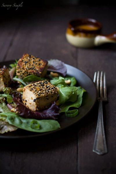 sesame-crusted-tofu-salad-spicy-peanut-dressing
