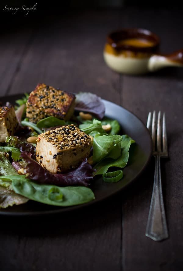 Sesame Crusted Tofu Salad with Spicy Peanut Dressing