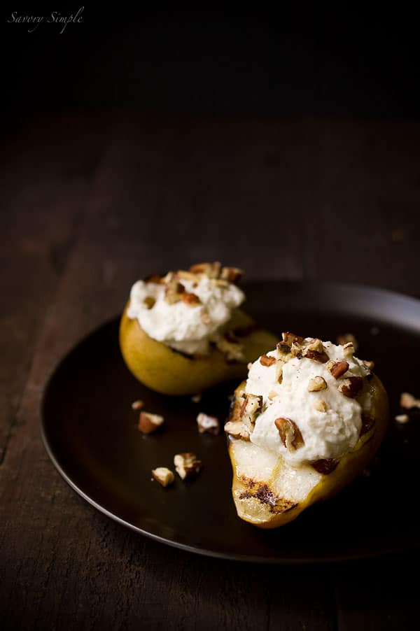 Grilled Pears with Roquefort Honey Whipped Cream ~ Savory Simple ~ Dessert Recipe