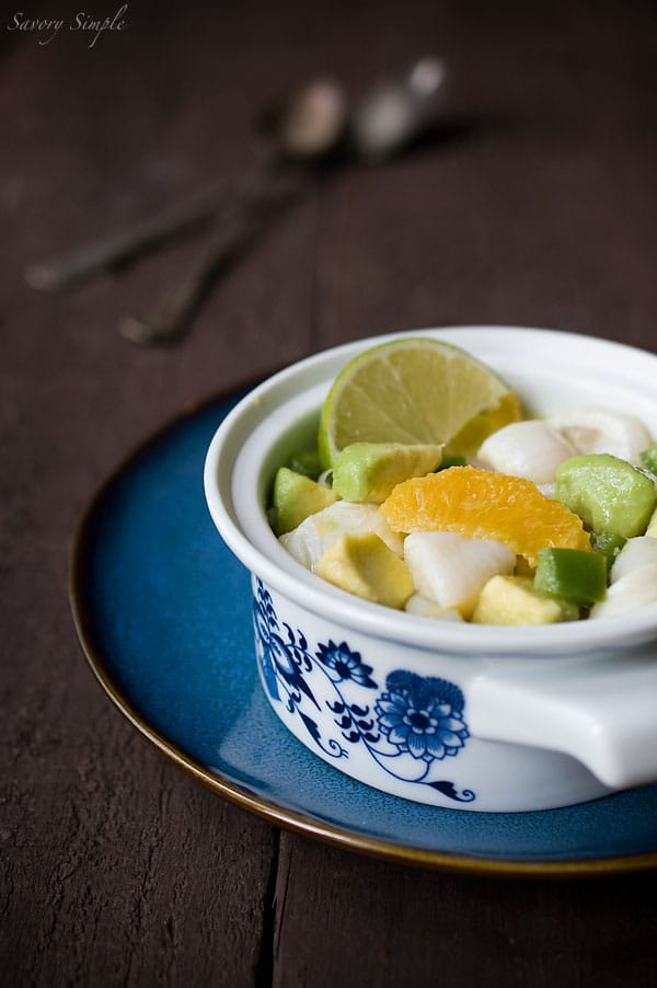 Scallop Ceviche with Orange and Avocado