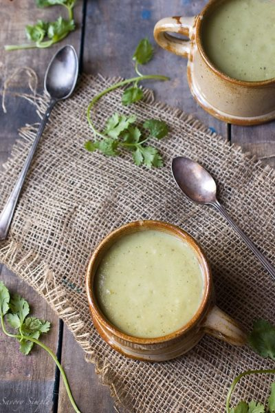 Chilled avocado soup with tomatillos
