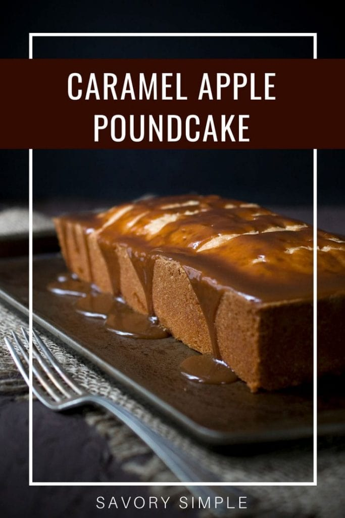 Caramel apple pound cake with text overlay.