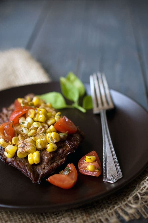 Grilled Balsamic Skirt Steak with Grilled Corn Salsa