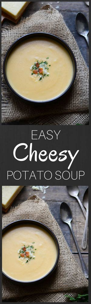 This easy cheesy potato soup recipe is rich, creamy and perfect for chilly fall and winter months!
