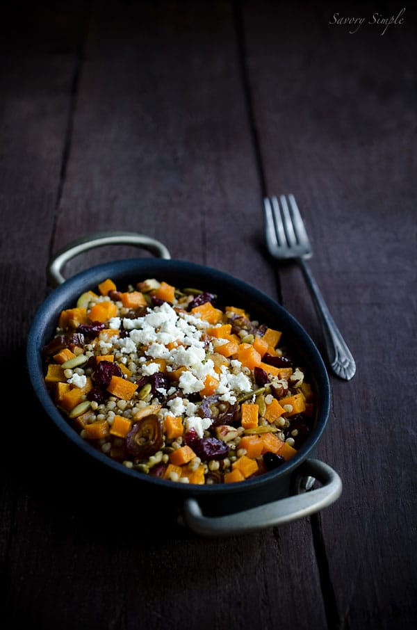 Butternut Squash Cranberry Sorghum Salad - Savory Simple