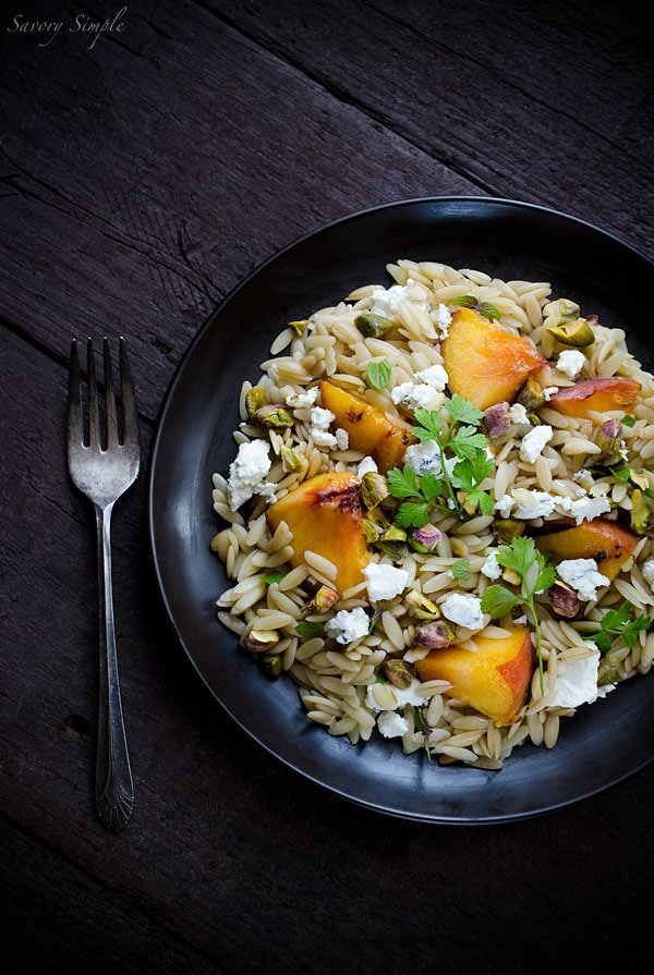 Humboldt Fog with Grilled Peaches and Orzo - a review of Melt from Savory Simple
